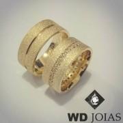 Alianças Casamento Moeda Antiga Diamantadas 9mm MJM74