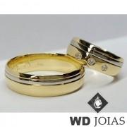 Alianças Casamento Moeda Antiga Polida Com Prata 7mm MJM47