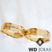 Alianças Casamento Moeda Antiga Polida Reta 6mm MJM04