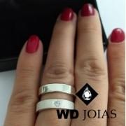 Alianças Compromisso Prata Pedra de Coração 5mm 12g MJP56