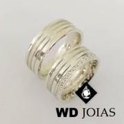 Alianças Compromisso Prata Polidas Com Pedras 8mm 19g MJP53