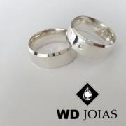 Alianças Compromisso Prata Polidas Italiana 7mm 14g MJP52