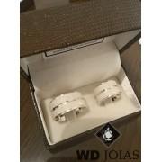 Alianças Compromisso Prata Quadrada Diamantada 20g MJP09