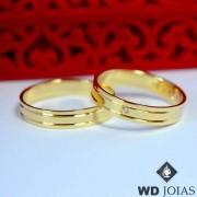 Alianças de Casamento Ouro 18k Polida 4,5mm 8g WD8753