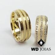 Alianças de Casamento Ouro Abaulada Diamante 8mm 20g WD8834