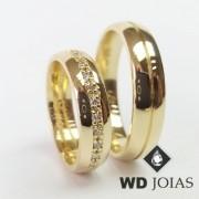 Alianças de Casamento Ouro Abaulada e Polida 6mm 13g WD8929