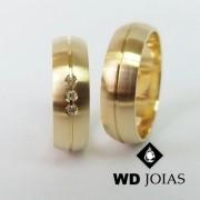 Alianças de Casamento Ouro Abaulada Fosco 7mm 14g WD8797
