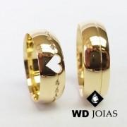 Alianças de Casamento Ouro Abaulada Polida 7mm 16g WD8774