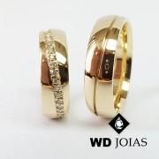 Alianças de Casamento Ouro Abaulada Polidas 7mm 16g WD8805