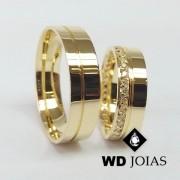Alianças de Casamento Ouro com Diamante Polidas 16g WD8802
