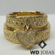 Alianças de Casamento Ouro Com Diamantes 6mm 18g WD8848