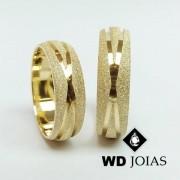 Alianças de Casamento Ouro Diamantada 7mm 18g WD8780