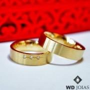 Alianças de Casamento Ouro Fosca Anatômica 5mm 10g WD8743