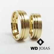Alianças de Casamento Ouro Fosca Anatômica 8mm 18g WD8823