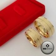 Alianças de Casamento Ouro Fosca e Quadrada 8mm 18g WD8768