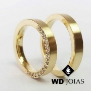 Alianças de Casamento Ouro Fosco Acetinado 4mm 14g WD8817