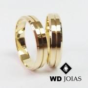 Alianças de Casamento Ouro Italiana Polidas 4mm 8g WD8807