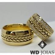 Alianças de Casamento Ouro Polida e Bordada 10mm 26g WD8847