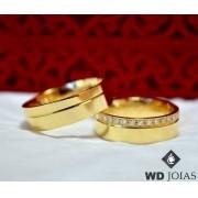 Alianças de Casamento Ouro Polida Quadrada 7mm 12g WD8747