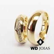 Alianças de Casamento Ouro Polidas Anatômica 6mm 12g WD8856