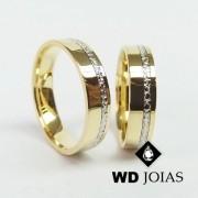 Alianças de Casamento Ouro Polidas e Bordada 6mm 15g WD8822