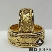 Alianças de Casamento Ouro Polidas e Bordadas 20g WD8846