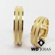 Alianças de Casamento Ouro Polidas e Diamantada 12g WD8793