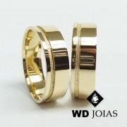 Alianças de Casamento Ouro Polidas e Fosca 7mm 15g WD8819