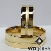 Alianças de Casamento Ouro Polidas e Foscas 6mm 13g WD8843