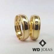 Alianças de Casamento Ouro Polidas e Foscas 7mm 16g WD8933