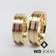 Alianças de Casamento Ouro Polidas e Foscas 7mm 18g WD8934