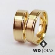 Alianças de Casamento Ouro Polidas e Foscas 7mm 18g WD8935