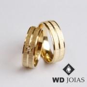 Alianças de Casamento Ouro Polidas e Fosco 16g WD8865