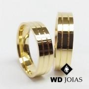 Alianças de Casamento Ouro Quadrada Polidas 7mm 15g WD8806