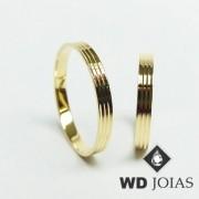 Alianças de Casamento Ouro Tradicional Polida 3mm 4g WD8928