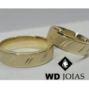Alianças de Ouro Polidas e Diamantadas 6mm 10g WD9010