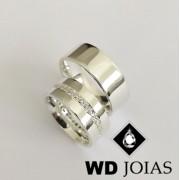 Alianças Namoro Prata Anatômica e Polidas 8mm 18g MJP78