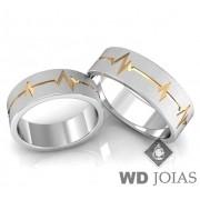 Alianças Namoro Prata Com Batimentos Cardíacos Ouro MJP26