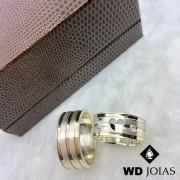 Alianças Namoro Prata e Ouro Anatômica Polida 8mm 18g MJP79