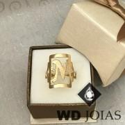 Anel de Ouro Com a Inicial do Nome 3mm 5g MJA61
