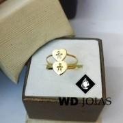 Anel de Ouro Com Dois Coração Menino 3g MJA48