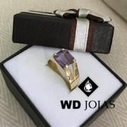 Anel de Ouro com Pedra Ametista 5g MJA47