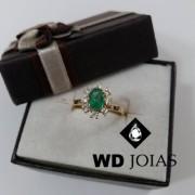 Anel de Ouro Com Pedra Esmeralda 2mm 3g MJA51
