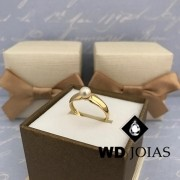 Anel de Ouro Com Perola Feminino 3mm 5g MJA66