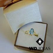 Anel de Ouro Feminino Pedra Topázio 1,7g MJA24