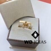 Anel de Ouro Formato Quadrado Com Dentinho 2mm 3g MJA54