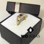 Anel de Ouro Infantil Polida Com Pedra 4mm 5g MJA55