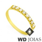 Anel de Ouro Meia Aliança com 8 Pedras MJA13