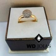Anel de Ouro Polida Com Brilhante 3mm 4g MJA58