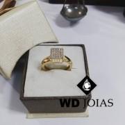 Anel de Ouro Polida Com Brilhante 4mm 5g MJA59